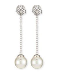 Lyst - Majorica Pearl & Cz Silver Chain Drop Earrings in White