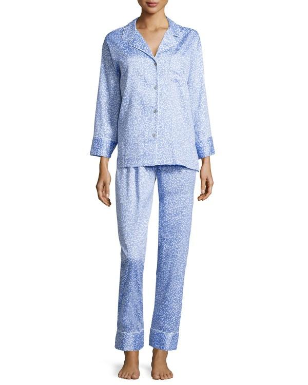 Natori Leopard-print Two-piece Pajama Set In Blue Lyst