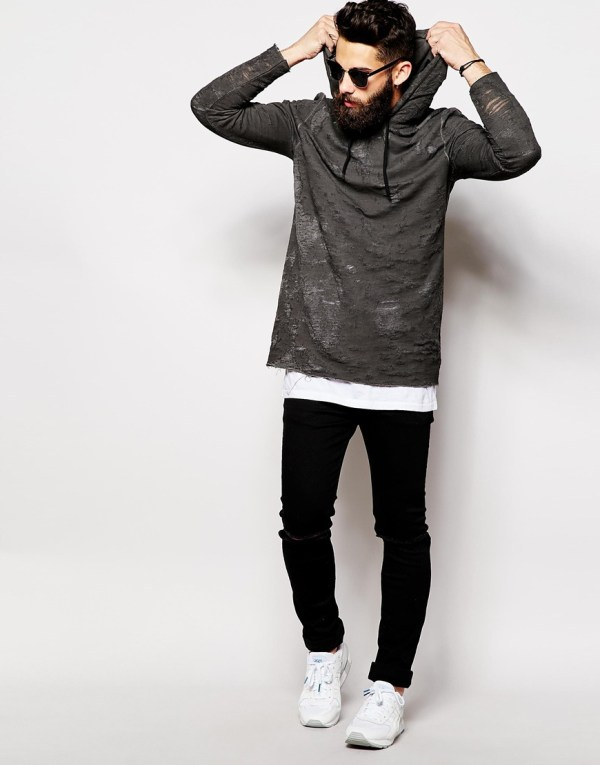 Lyst - Asos Longline Hoodie With Oil Wash & Distressed
