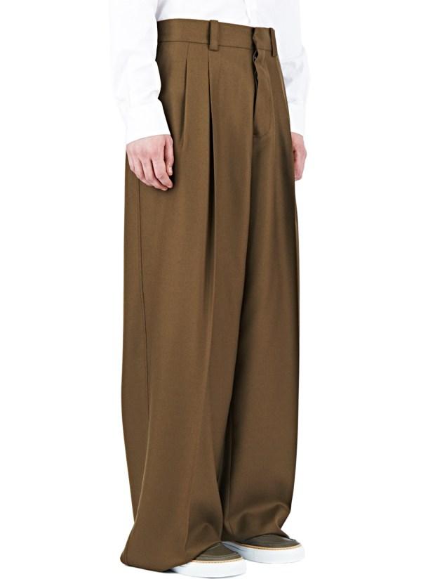 Brown Wide Leg Dress Pants for Men