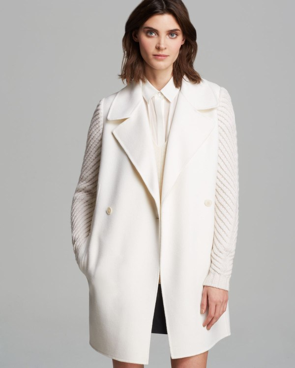 Lyst - Vince Coat Double Breasted Knit Sleeve In White