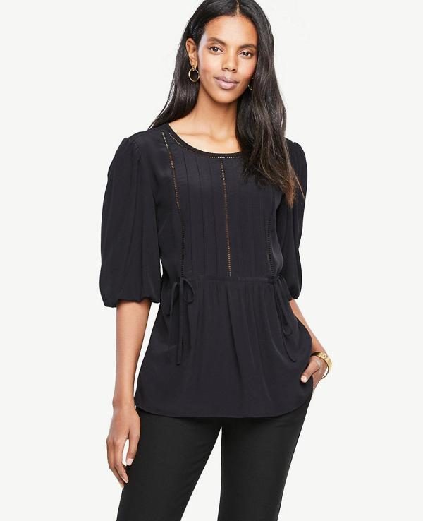 Lyst - Ann Taylor Lacy Puff Sleeve Blouse In Black