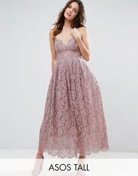 Asos Lace Cami Midi Prom Dress in Purple   Lyst