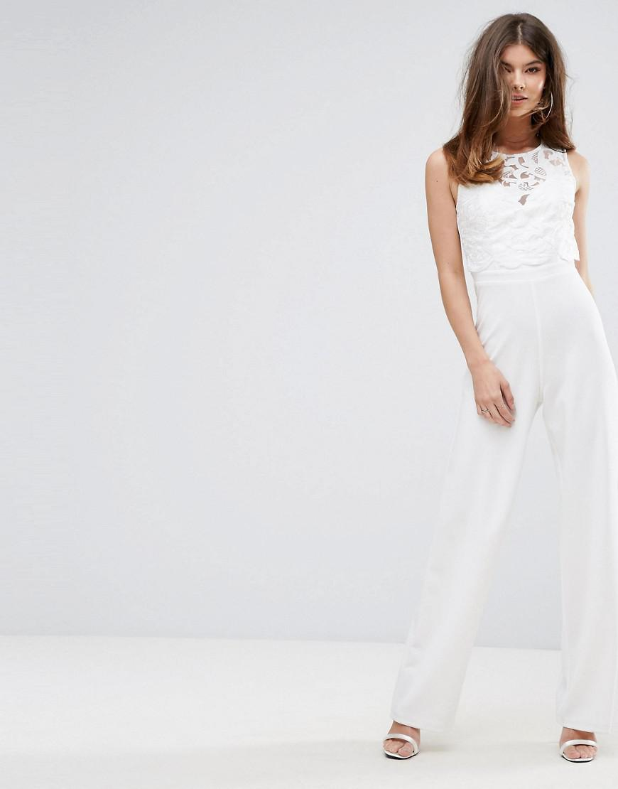 cd9f3432a5f0 Lipsy Wide Leg Jumpsuit With Lace Overlay In White Lyst