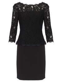 Adrianna papell 3/4 Sleeve Lace Cocktail Dress in Black | Lyst