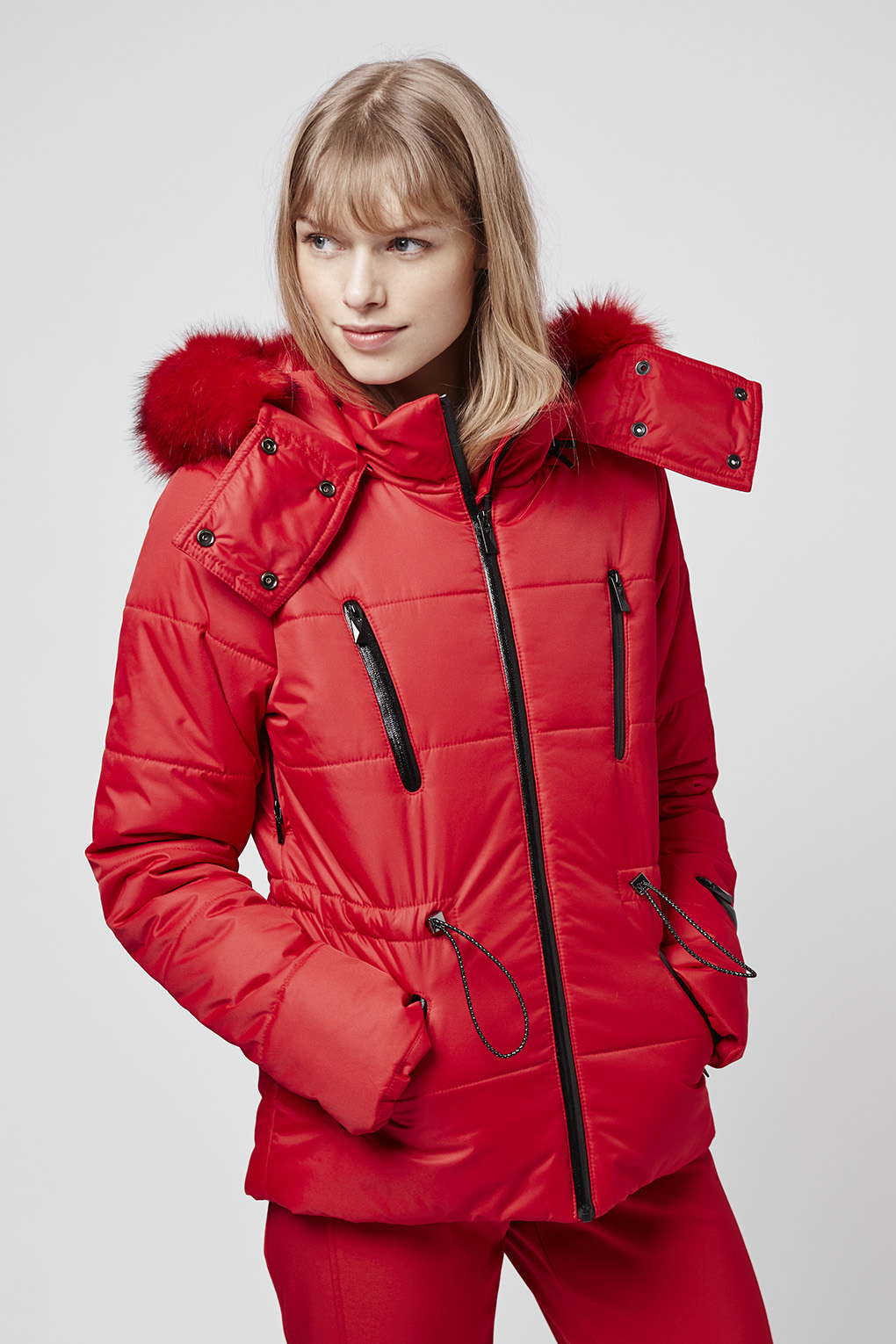 Lyst Topshop Sno Padded Panel Jacket In Red