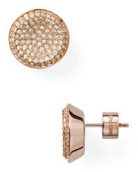 Lyst - Michael Kors Concave Pave Stud Earrings in Metallic