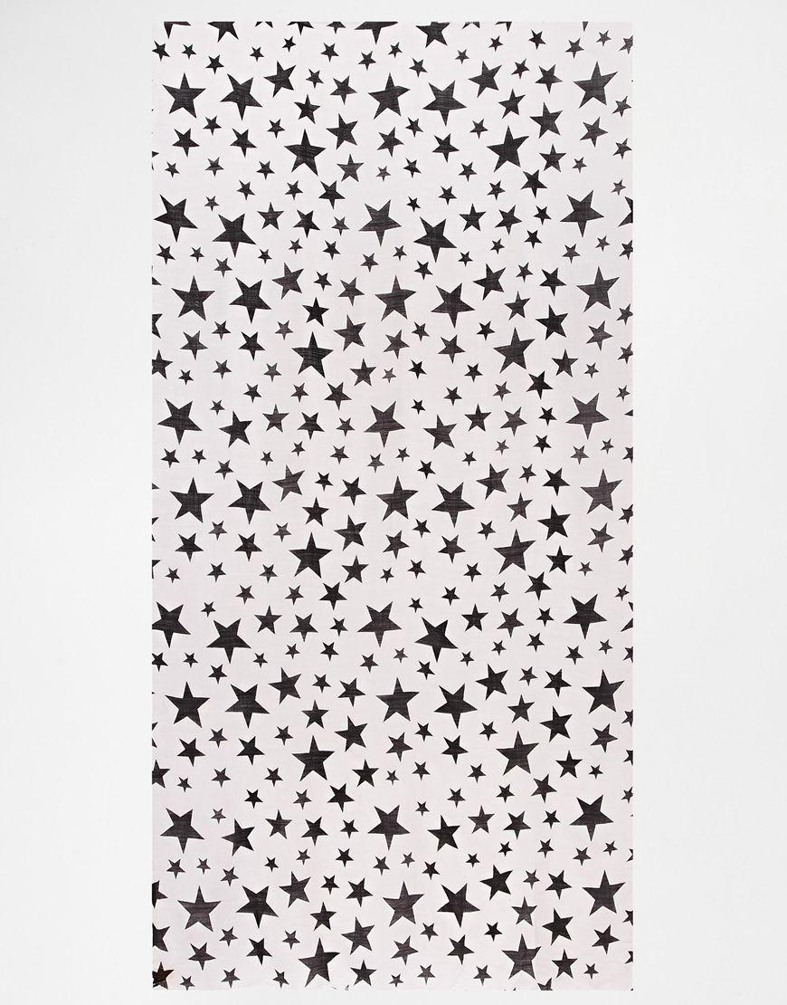 Becksöndergaard Star Print Scarf In Wool Silk Mix in Gray