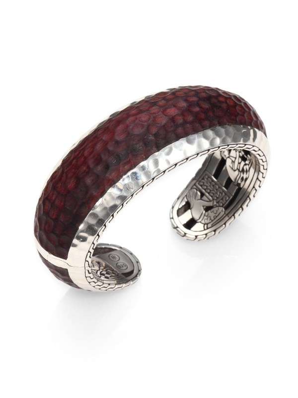 John Hardy Palu Sterling Silver Rosewood Cuff Bracelet In