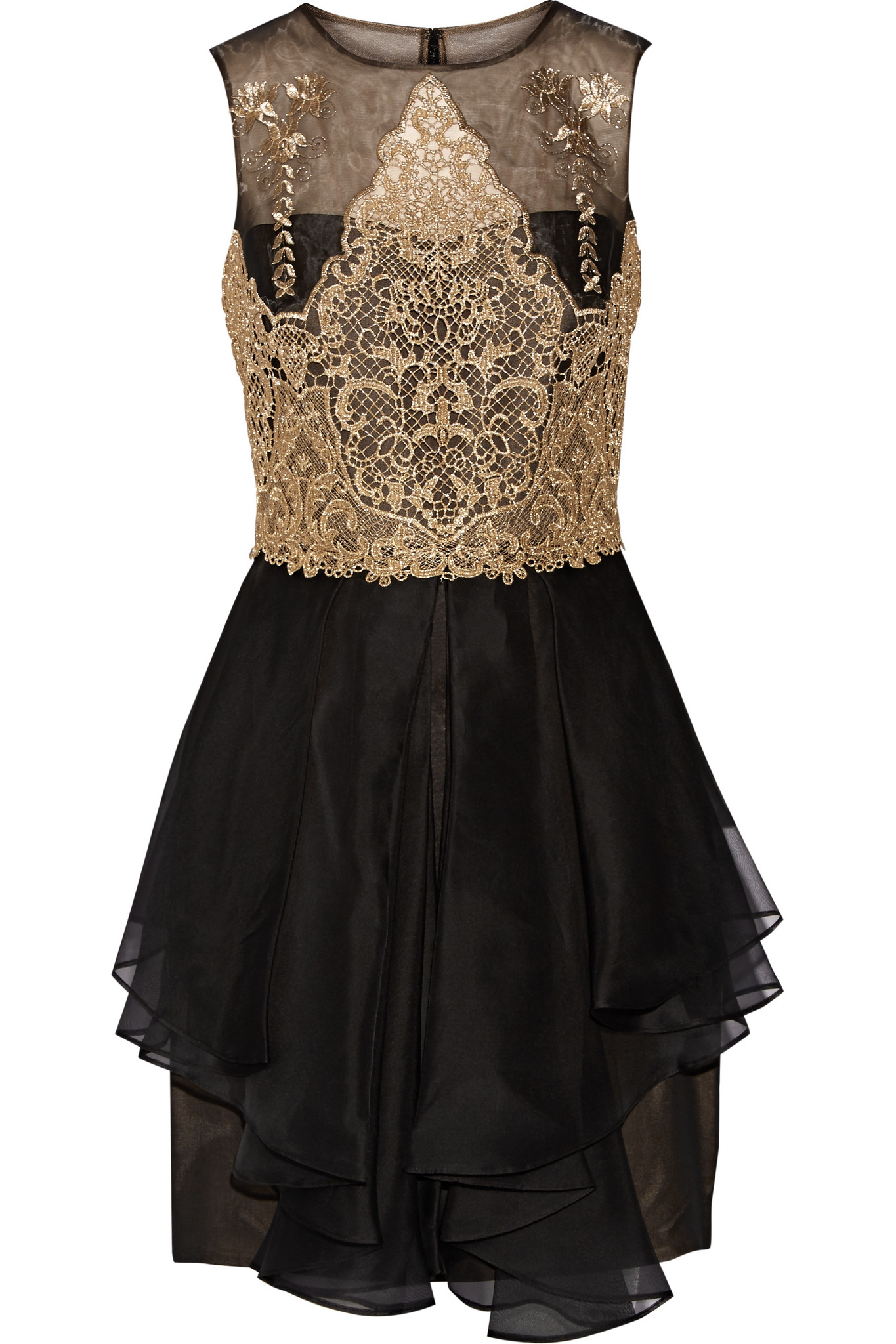 Notte by marchesa Embroidered Lace And Silkorganza Mini