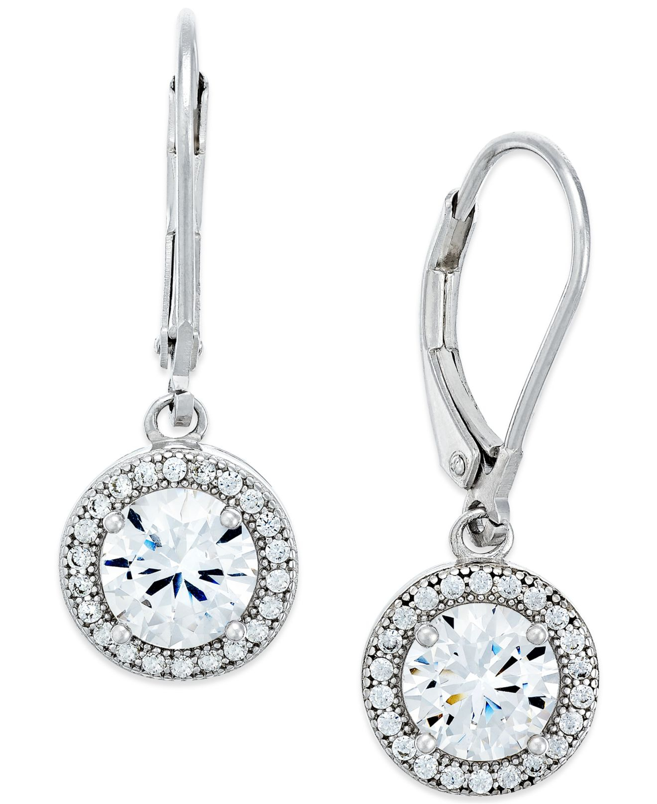 Macy's Giani Bernini Cubic Zirconia Halo Drop Earrings In