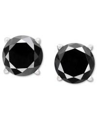 Macy's Black Diamond Stud Earrings In 14k White Gold (1-1 ...