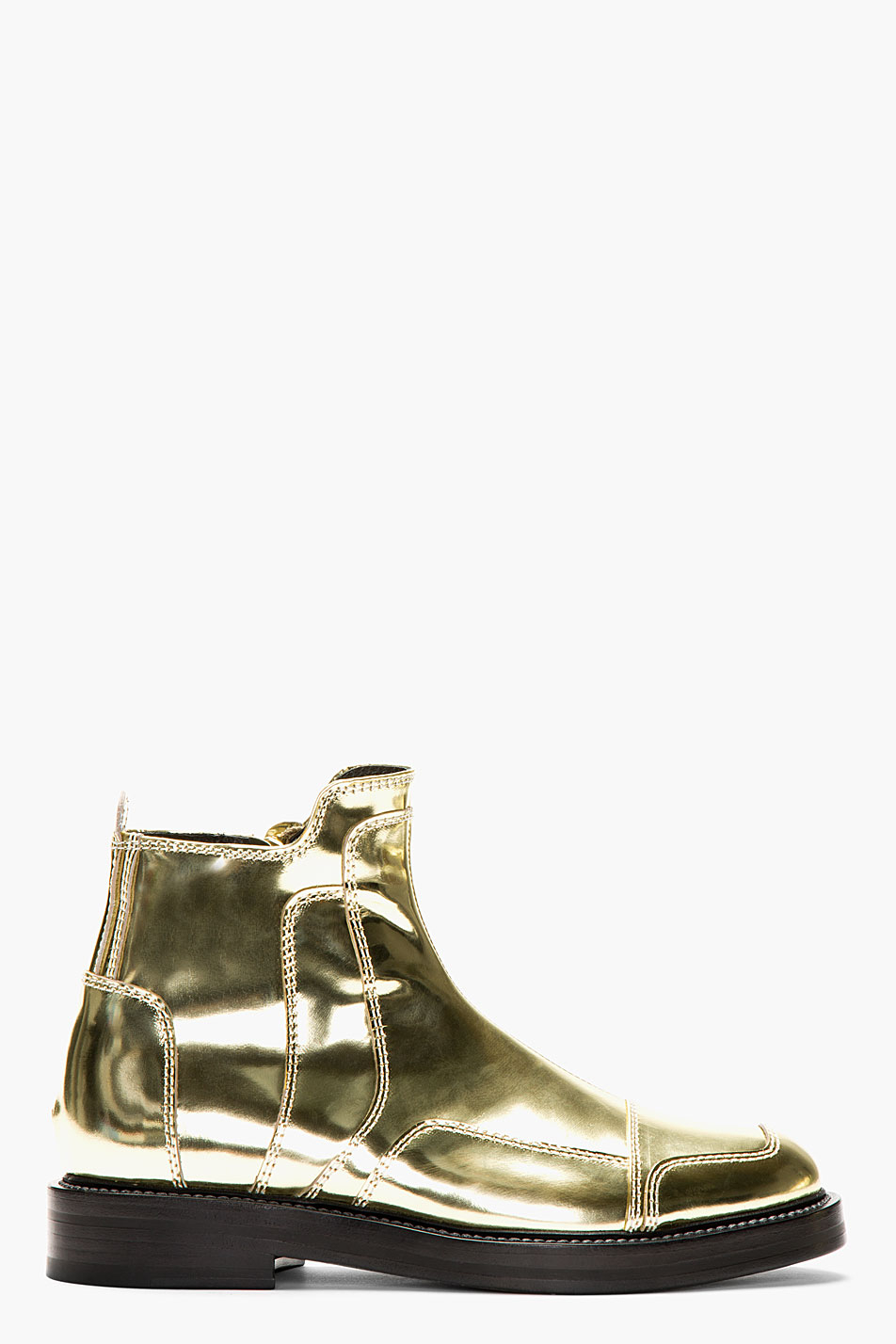 Juunj Metallic Gold Leather Boots In Gold For Men Lyst