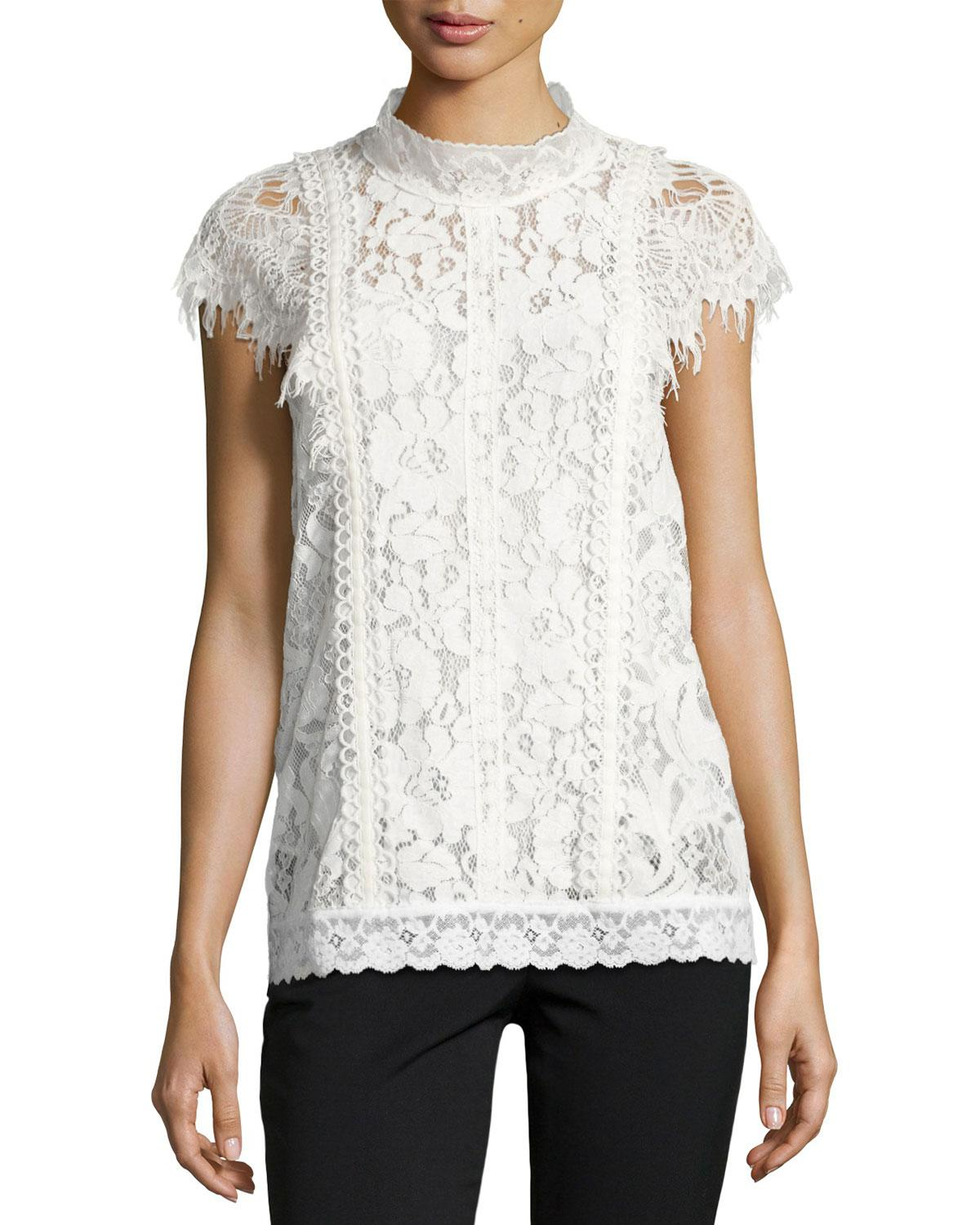 Lyst  Burberry Lace Capsleeve Top in White