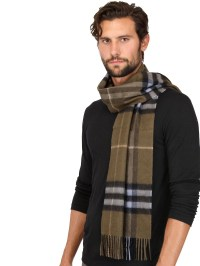 Burberry Giant Check Pattern Cashmere Scarf in Natural for ...