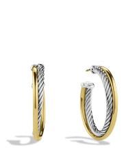 David yurman Crossover Medium Hoop Earrings With Gold in ...