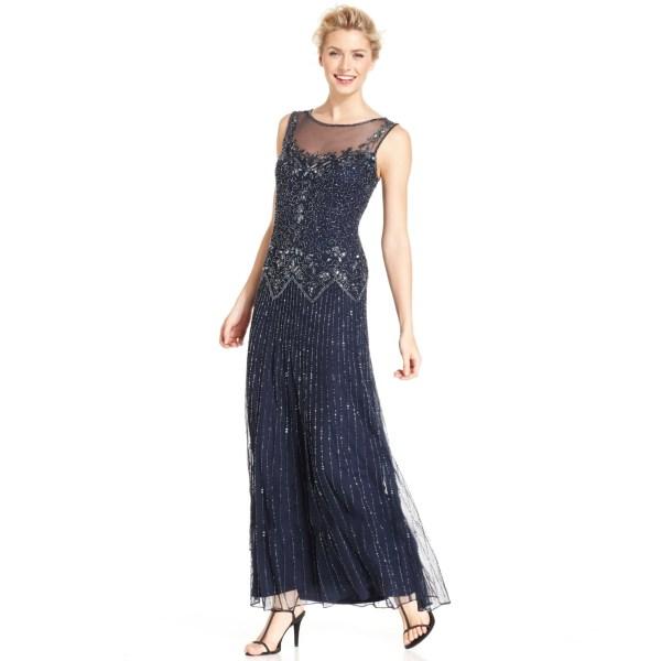 Pisarro Nights Beaded Illusion Dress