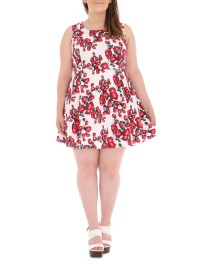 Samya Plus Size Rose Print Mid
