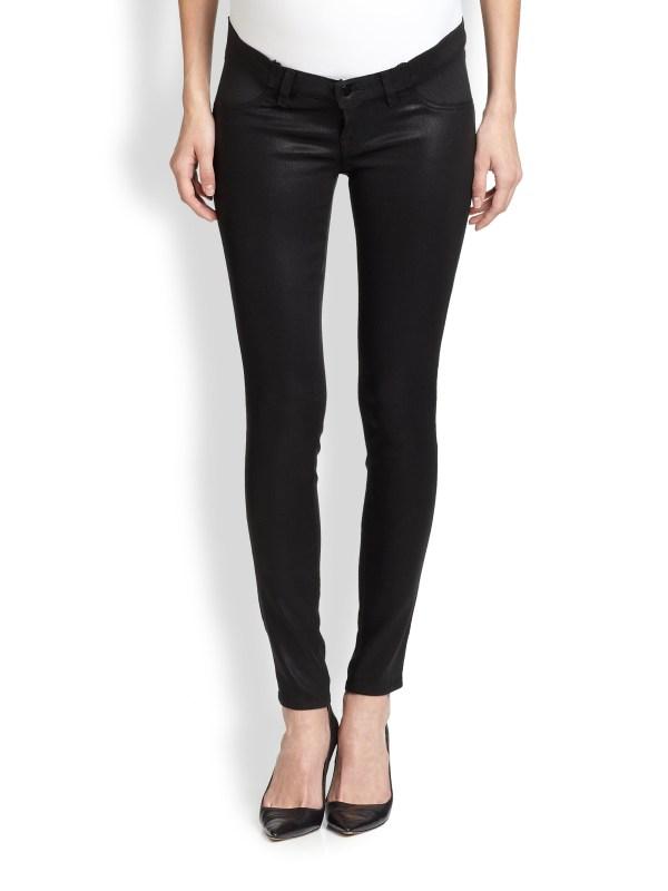 Brand Maternity Coated Skinny Jeans In Black