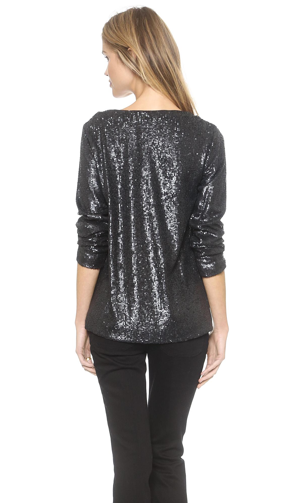 Rachel Zoe Cora Long Sleeve Sequin Top  Black in Black  Lyst