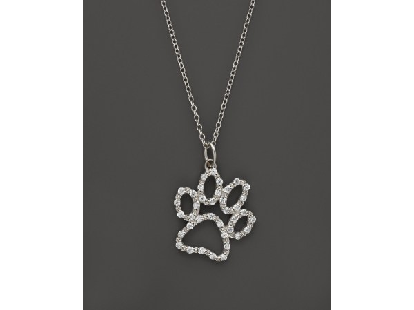 Kc Design Diamond Paw Print Pendant Necklace In 14k White