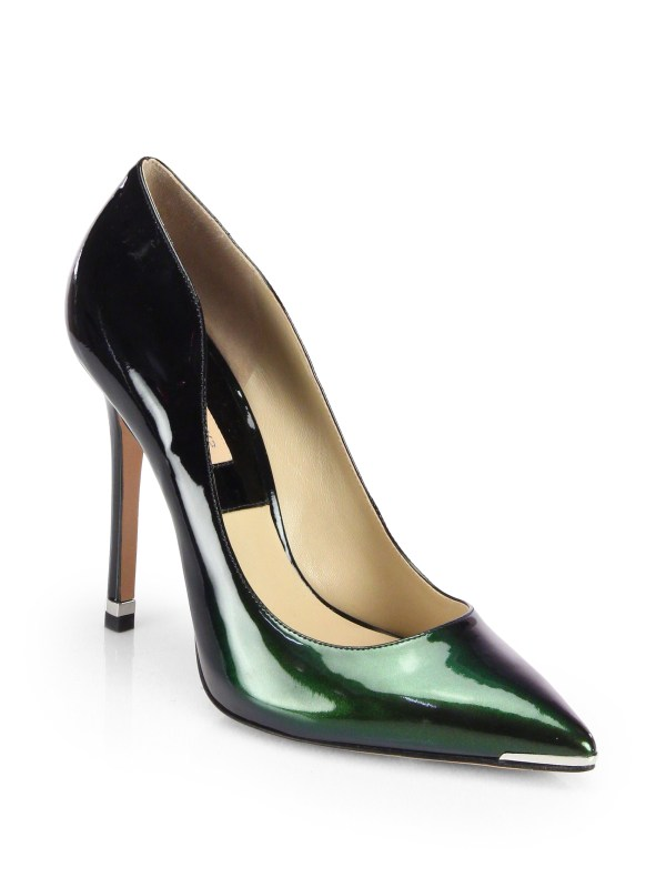 Lyst - Michael Kors Avra Patent Leather Pumps In Green