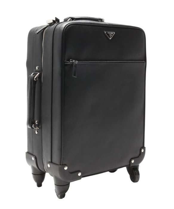 Prada Black Saffiano Leather Carry-on Rolling Suitcase In Black For