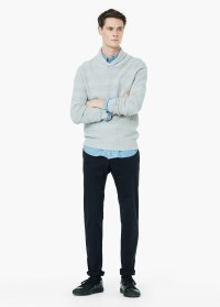 Lyst - Mango Shawl Collar Textured Sweater in Gray for Men