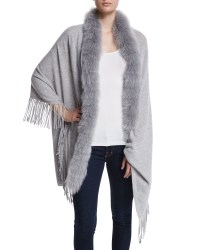 Lyst - Magaschoni Cashmere Shawl With Fur Trim in Gray