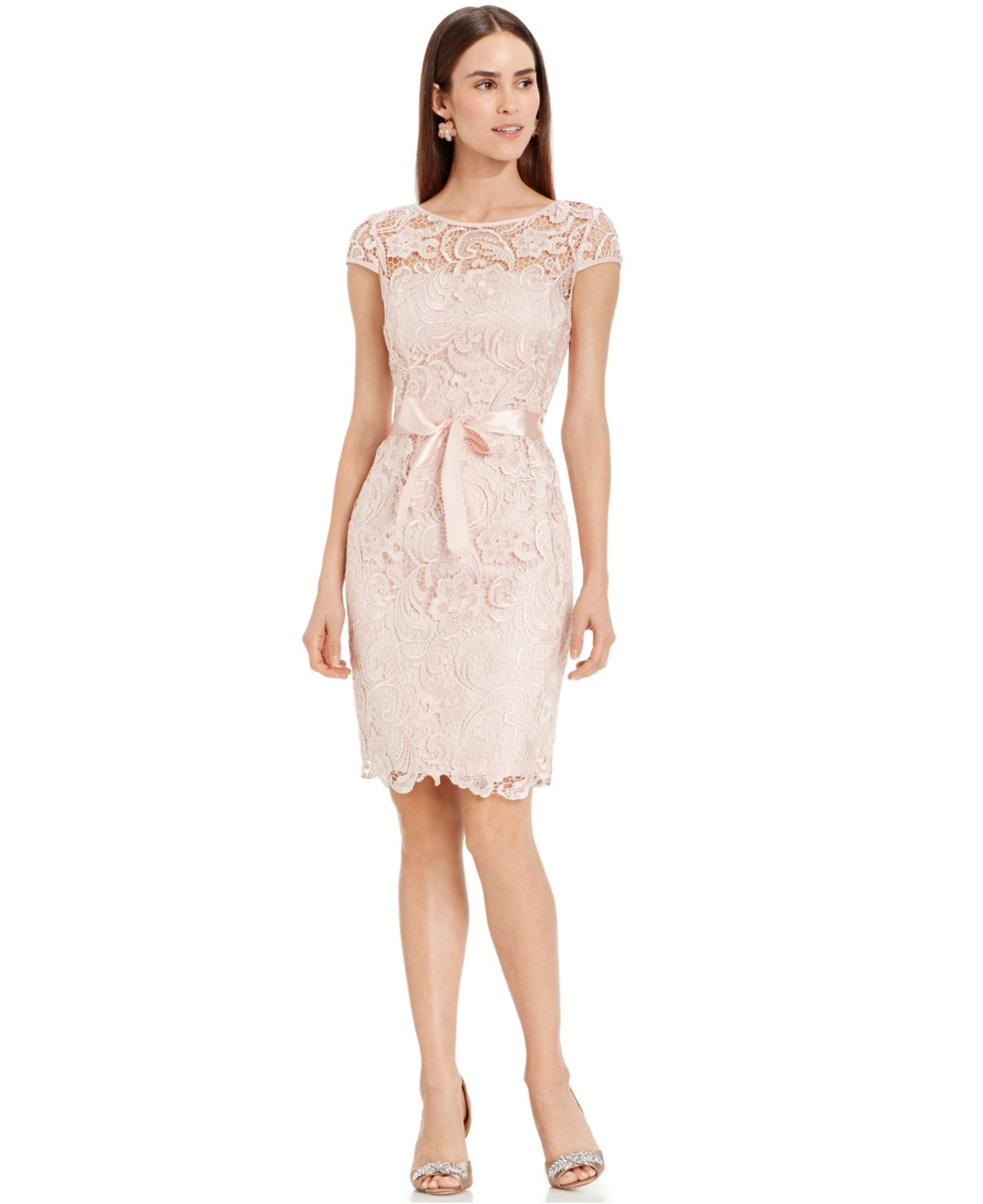 Adrianna papell Capsleeve Illusion Lace Sheath in Pink Blush  Lyst