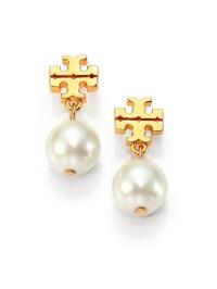 Lyst - Tory Burch Logo Faux Pearl Drop Earrings in Metallic