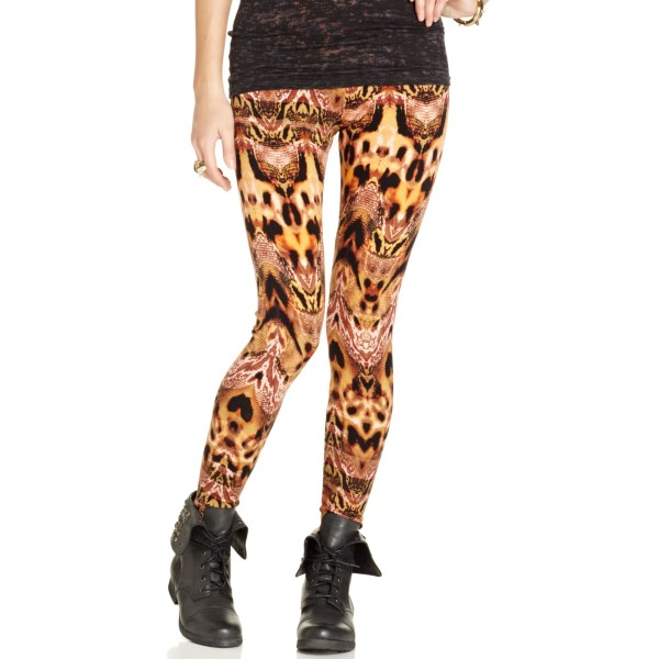 Material Girl Juniors Printed Leggings In Brown