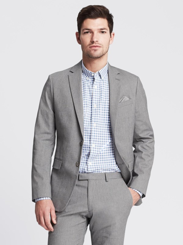 Banana Republic Modern Slim Textured Gray Suit Jacket In