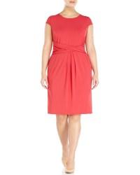 Marina rinaldi Plus Size Coral Cap Sleeve Dress in Pink | Lyst