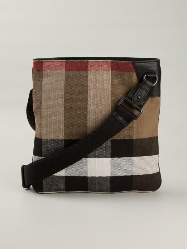 Lyst - Burberry Haymarket Check Messenger Bag In Black Men