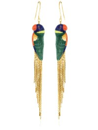 Nach Rainbow Parrot Earrings W/ Metal Fringe in Blue | Lyst