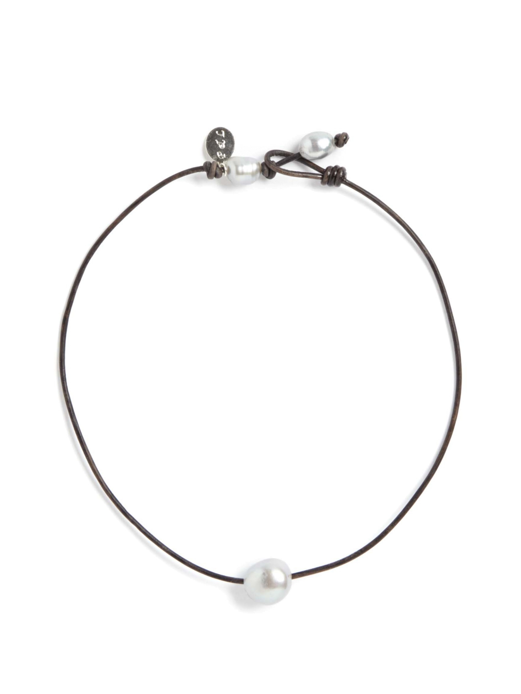 Perle By Lola Single Pearl Choker In Brown