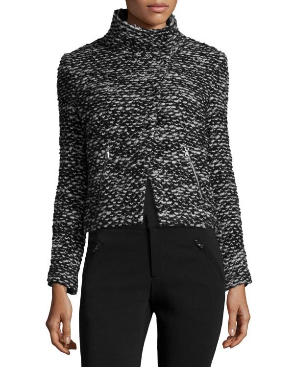 Rebecca Taylor Cropped Tweed Jacket In Black Lyst