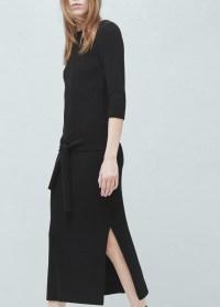 Mango Tie-knot Knitted Dress in Black | Lyst