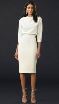 Badgley mischka Long Sleeve Dress in White | Lyst