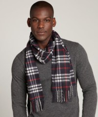 Lyst - Burberry Navy Check Cashmere Fringe Scarf in Blue ...