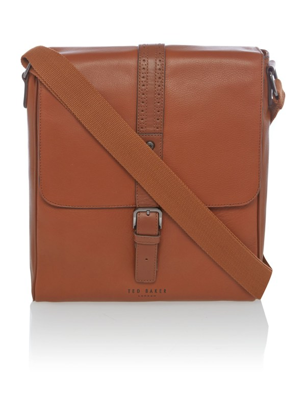 Ted Baker Broguing Leather Flight Bag In Brown Men Lyst