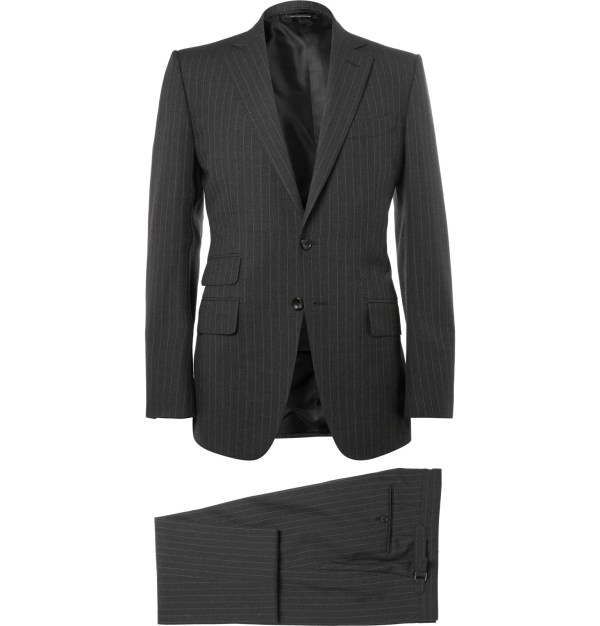 Tom Ford Charcoal Slim-fit Pinstriped Wool Three-piece Suit In Black Men Lyst