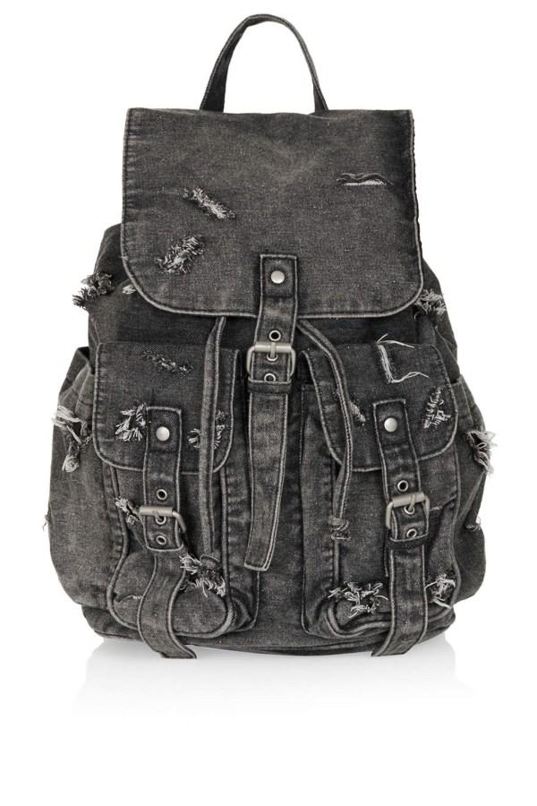 Lyst - Topshop Ripped Denim Backpack In Black