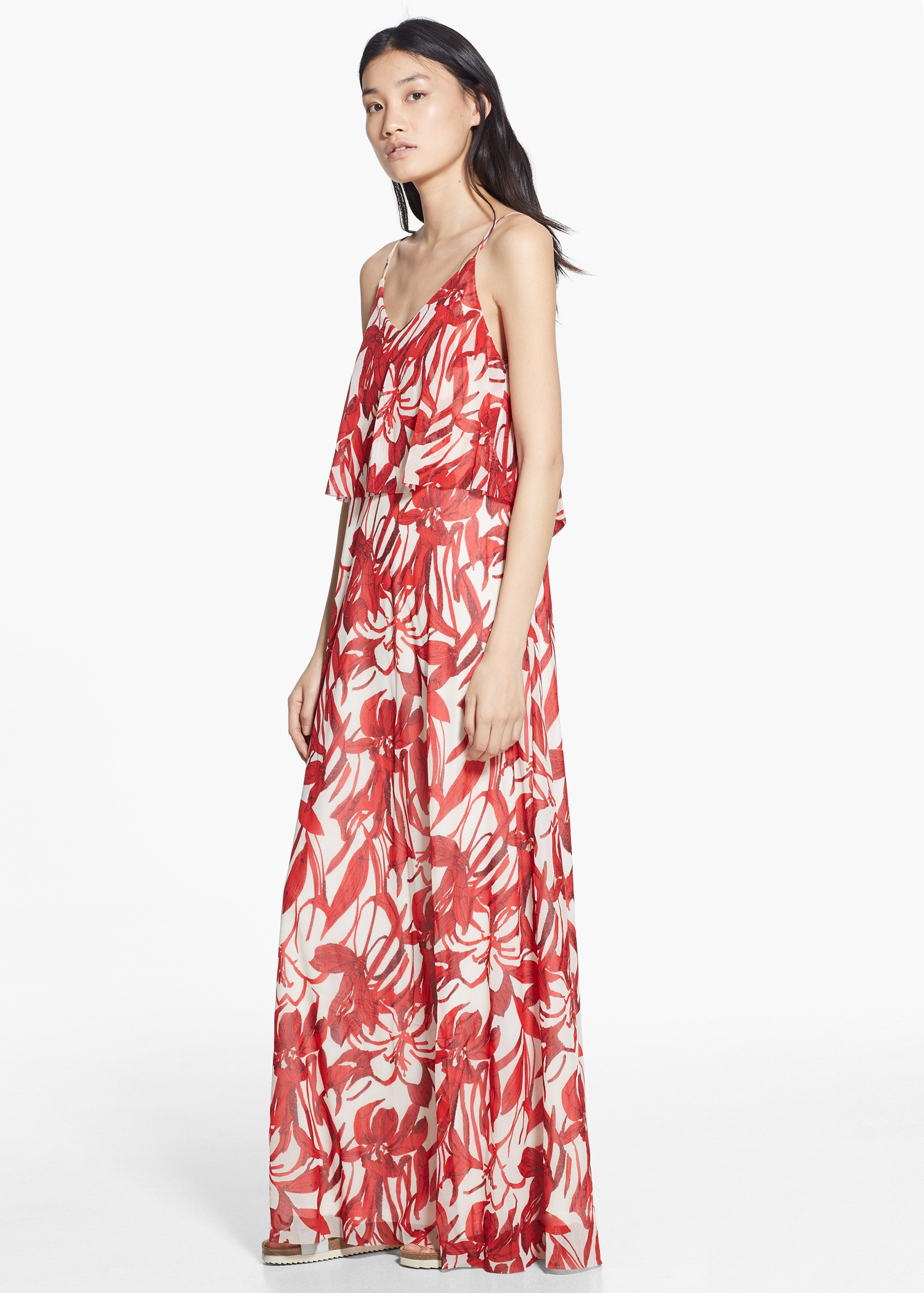 Mango Floral Long Dress In Red Lyst