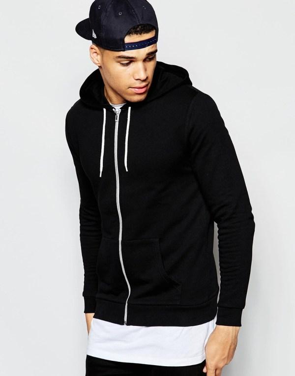 Lyst - Asos Zip Hoodie In Black Men
