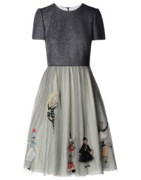 Red valentino Circus Cotton and Silk Dress in Gray | Lyst