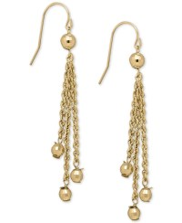 Macy's Rope And Bead Dangle Drop Earrings In 14k Gold in ...