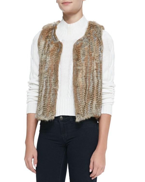America Sleeveless Short Fur Vest In Beige Natural Lyst