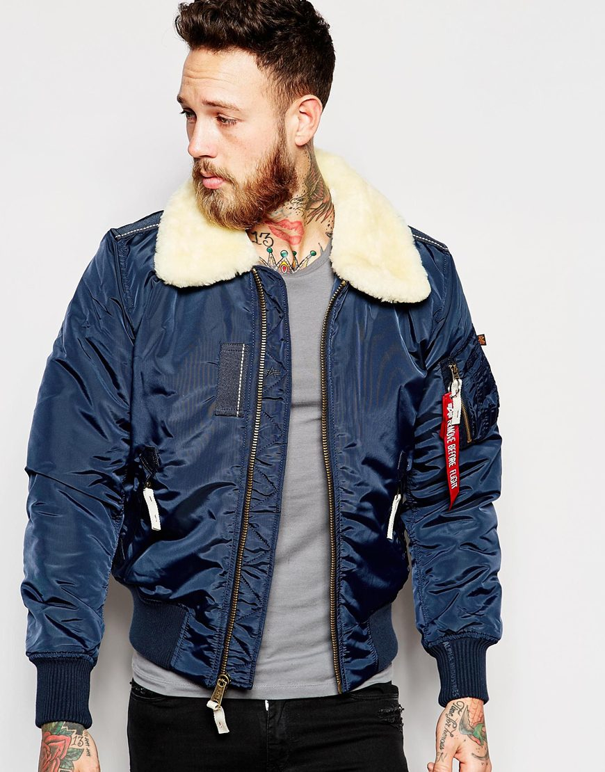 Alpha Industries Contrast Bomber Jacket in Blue for Men  Lyst